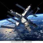 stock-photo-space-station-orbiting-earth-d-model-elements-of-this-image-furnished-by-nasa-169083521