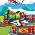 stock-photo-the-locomotive-and-the-flying-machine-illustration-for-the-children-111144080