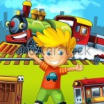 stock-photo-the-locomotive-the-label-with-kid-illustration-for-the-children-132933482