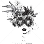 stock-vector-abstract-woman-mask-with-flowers-black-and-white-95154880