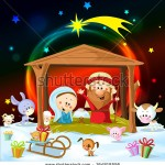 stock-vector-christmas-nativity-with-lights-and-cute-animals-164818556
