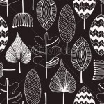 stock-vector-floral-linear-seamless-decorative-pattern-scribble-background-with-leafs-black-and-white-contour-128059811