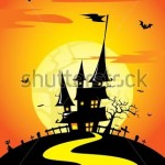 stock-vector-halloween-theme-creepy-house-silhouette-in-the-grave-yard-vector-158189003
