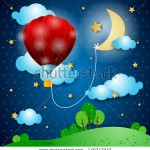 stock-vector-hot-air-balloon-on-fantasy-landscape-vector-149343347
