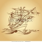 stock-vector-illustration-of-drawing-of-historical-ship-on-paper-93393943