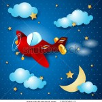 stock-vector-red-airplane-at-night-vector-130309043