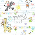 stock-vector-seamless-background-with-happy-children-s-and-animals-sketch-on-notebook-page-134324609
