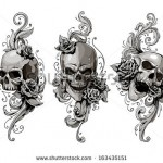 stock-vector-skulls-with-floral-patterns-vector-set-vector-illustration-163435151