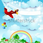 stock-vector-spring-background-with-airplane-and-banner-vector-139254575