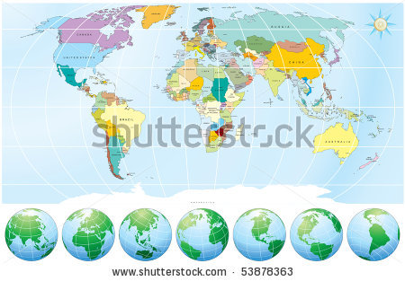 Stock vector world map with globes detailed editable vector include stock vector world map with globes detailed editable vector include all names of countries and capitals 53878363 gumiabroncs Gallery