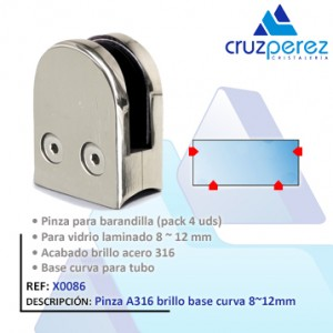 Pinzavidrios X0086 Brillo base curva