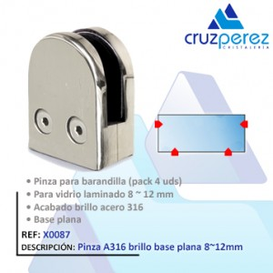 Pinzavidrios X0087 Brillo base plana