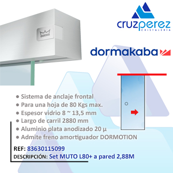 Dormakaba SET MUTO L80+ A PARED 2.88M 83630115099